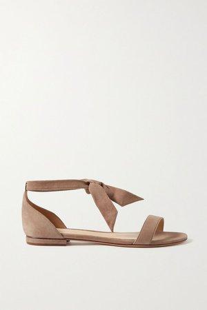 Taupe Clarita bow-embellished suede sandals | Alexandre Birman | NET-A-PORTER