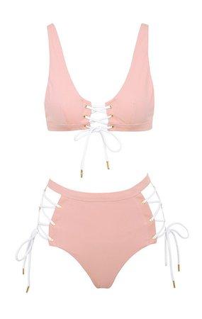 Clothing : Swimwear : 'Muscat' Powder Pink Lace Up High Waist Bikini