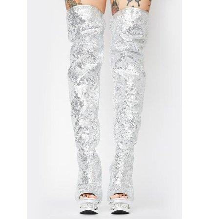 Pleaser Sequin Thigh High Boots - Blondie Silver | Dolls Kill