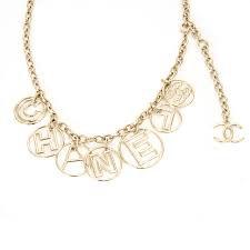 chanel logo chain belt