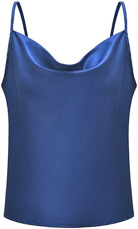 Simplee Women's Casual Silk Satin Tank Top Sexy Plain Cami V Neck Spaghetti Strap Vest Top Army Green 4-6 at Amazon Women's Clothing store