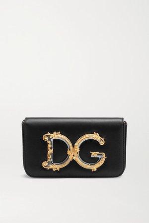 Girls Embellished Leather Shoulder Bag - Black