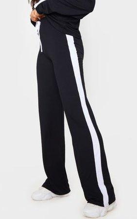 Black Wide Leg Side Stripe Trousers | Co-Ords | PrettyLittleThing