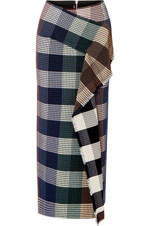 Roland Mouret | Lowit draped checked cotton-blend bouclé skirt | NET-A-PORTER.COM