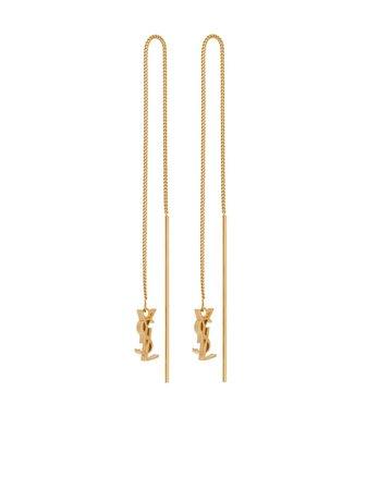 Saint Laurent logo drop earrings - FARFETCH