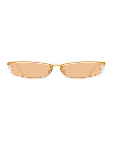 Linda Farrow Slim Rectangle Sunglasses