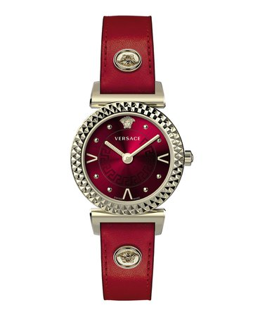 Versace Mini Vanity Watch w/ Leather Strap