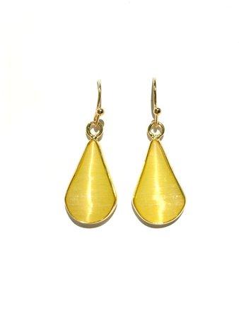 Gold Teardrop Dangles | Yellow or Purple Stone | Light Years Jewelry