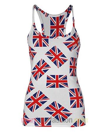 Womens Ladies Union Jack UK Flag Printed Muscle Back Vest Top 8 10 12 14 16: Amazon.co.uk: Clothing