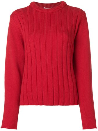 Chloé Striped Knit Sweater CHC18AMP18500 Red | Farfetch