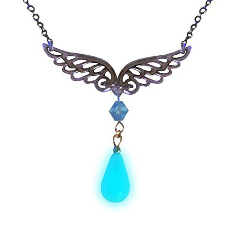 Rinoa Heartilly Glowing Necklace - Glow in the Dark - Gamer Necklace - Angel Wings - Angel Necklace: Handmade