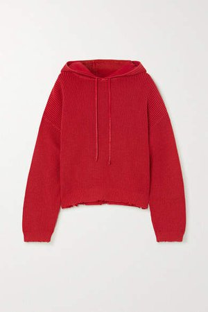 Distressed Cotton Hoodie - Red