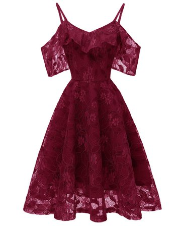 [ 59% OFF ] 2018 Ruffle Lace Cold Shoulder Dress In Red Wine 2xl | Rosegal.com