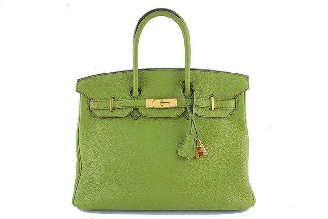 Hermes Birkin Bag, 35cm Vert Anis Apple Green Togo Tote, GOLD HW