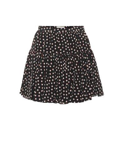 Printed silk miniskirt