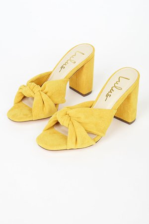 Yellow High Heel Sandals - Faux Suede Sandals - Knotted Sandals - Lulus