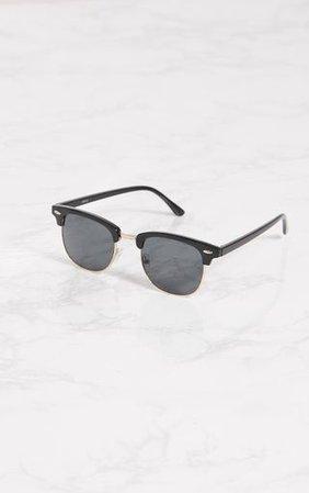 Black Half Lens Aviator Sunglasses | PrettyLittleThing
