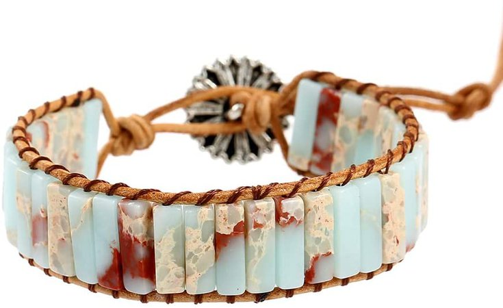 Plumiss Fashion Agalmatolite Beaded Wrap Leather Bracelet Jewelry: Jewelry