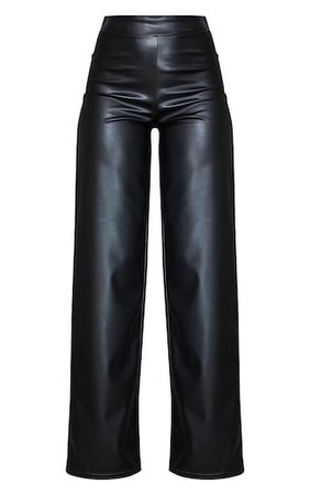Black Matt Straight Leg Faux Leather Trousers | PrettyLittleThing USA