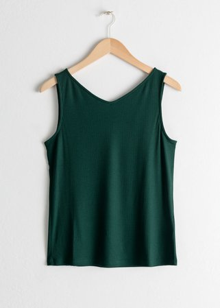 Basic V-Neck Tank Top - Green - Tanktops & Camisoles - & Other Stories
