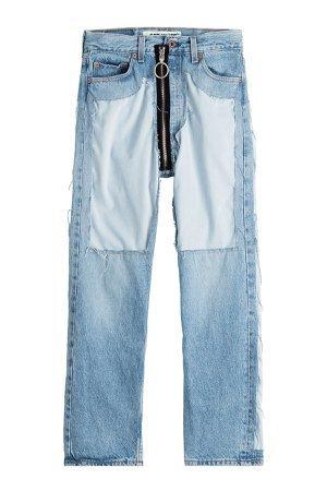 Distressed High-Waist Jeans with Zipper Gr. 28