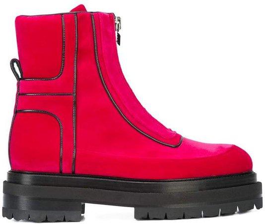 stitch detailed platform sole ankle boots