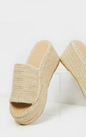 Natural Espadrille Mule Flatform Sandal   PrettyLittleThing USA