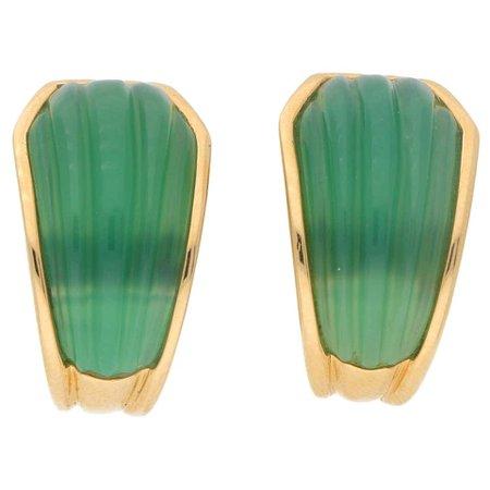 Boucheron, Green Chrysoprase Clip-On Half Hoop Earrings in 18 Karat Gold