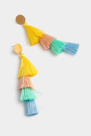 Valentina Tiered Tassel Earrings in Pastel | francesca's