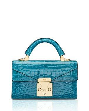 STALVEY Glossy Alligator 2.5 Small Top-Handle Bag, Noir   Neiman Marcus