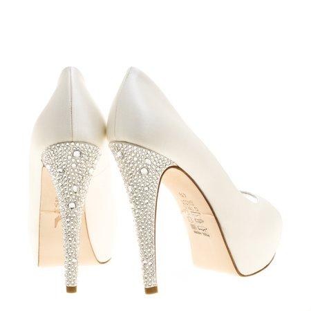 Buy Gina White Satin Jenna Crystal Embellished Heel Peep Toe Platform Pumps Size 37.5 146529 at best price | TLC