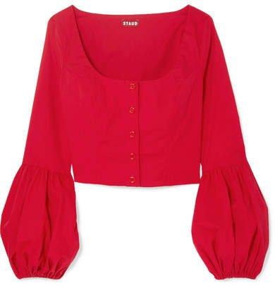 STAUD Stretch-cotton Poplin Top - Red