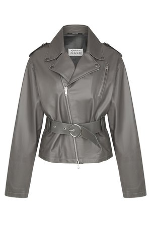 Байкерская куртка из кожи Maison Margiela Куртка Серый на BABOCHKA.RU