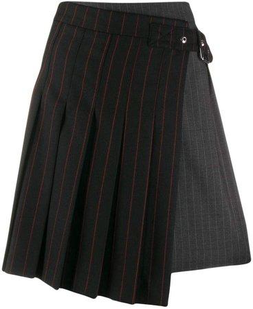 pinstripe buckled skirt