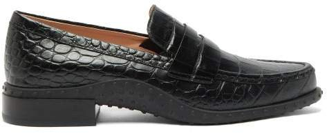 Gommini Crocodile Embossed Leather Penny Loafers - Womens - Black