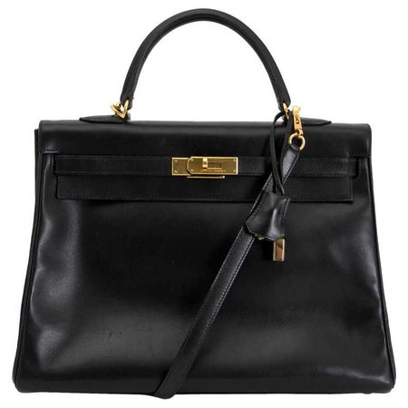 Hermes Kelly 35 Black Box Calf and Strap For Sale at 1stdibs