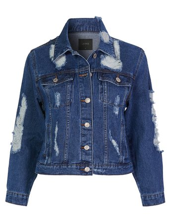 LE3NO Womens Casual Long Sleeve Vintage Distressed Denim Jacket With Pockets | LE3NO blue