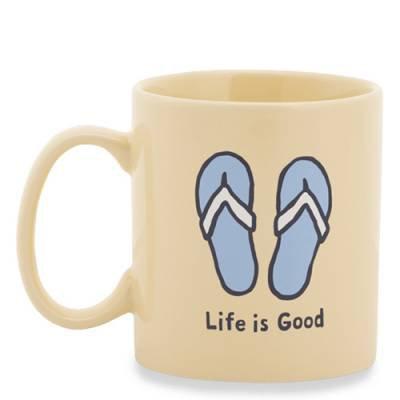 Life is Good Flip Flops Jake's Mug in Happy Yellow   The Paper Store