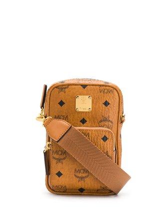 Mcm Logo Print Mini Shoulder Bag MMRASVI02 Brown   Farfetch
