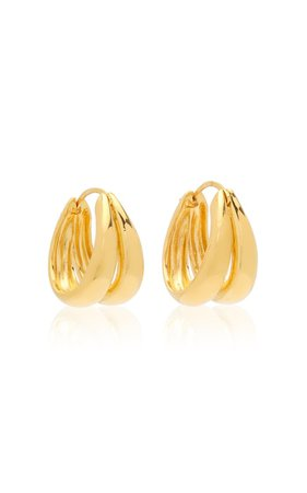 Large 1930 18k Gold Vermeil Double-Hoop Earrings By Sophie Buhai | Moda Operandi