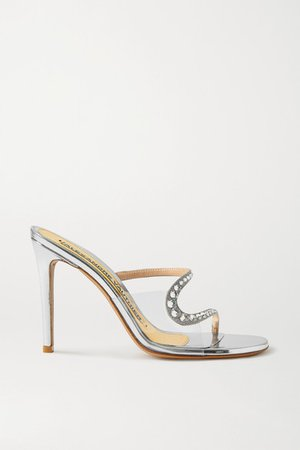 Ava Crystal-embellished Metallic Leather And Pvc Sandals - Silver