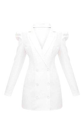 White Puff Sleeve Button Up Blazer Dress | PrettyLittleThing