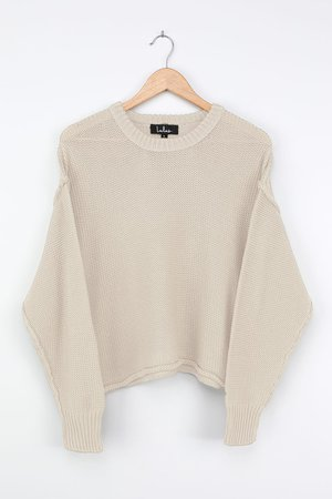 Light Beige Sweater - Chunky Knit Sweater - Taupe Sweater - Lulus