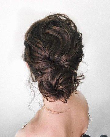 Brown Hair Bun Up-Do