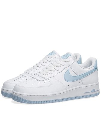White and blue Nike Air Force sneakers