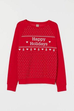 H&M+ Printed Sweatshirt - Red