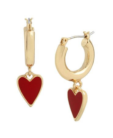 Betsey Johnson Heart Huggie Earrings & Reviews - Earrings - Jewelry & Watches - Macy's