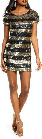 Anni Sequin Stripe Sheath Dress