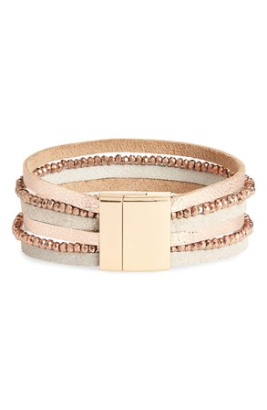 Panacea Multistrand Crystal & Leather Bracelet | Nordstrom