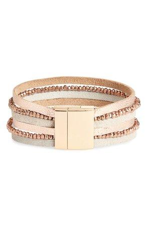 Panacea Multistrand Crystal & Leather Bracelet | Nordstrom